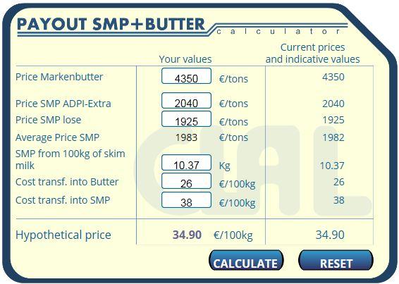 Melkprijs op basis van boter en magere melkpoeder