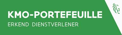 Logo KMO Portefeuille op groene achtergrond met rechts logo van Vlaamse Overheid